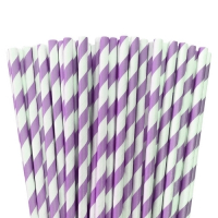 Lilac paper striped straws