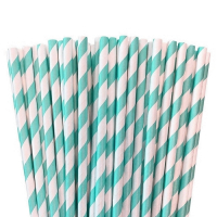 Light blue paper striped straws