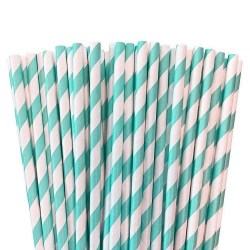 Light blue paper straws for party