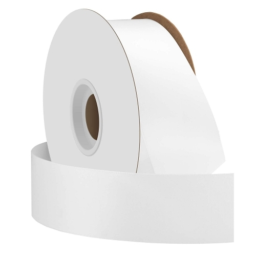 White Single Face Satin Ribbon 38mm x 50m